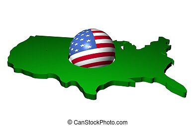 American flag sphere with map