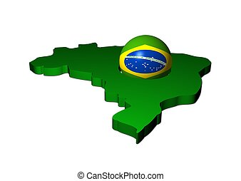 Brazilian flag sphere with map