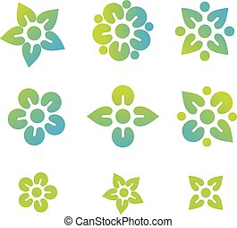 abstract flower icon logo  set