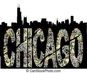 Chicago grunge dollar with skyline - Chicago grunge dollar...