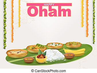 Happy Onam. Food for hindu festival in Kerala. Template...