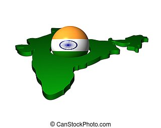 India flag sphere with map