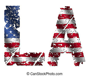 Grunge LA text with American flag on white illustration