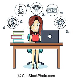 person working office icon vector illustration design