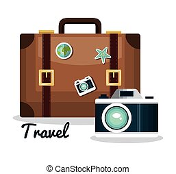 travel set equipment isolated icons
