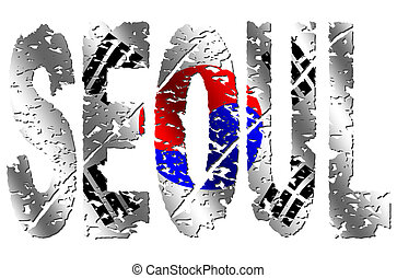 Seoul grunge text with flag