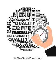 delivery food service chronometer vector illustration design
