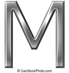 3D Silver Letter M - 3d silver letter M isolated in white