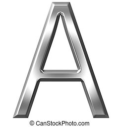 3D Silver Letter A - 3d silver letter A isolated in white