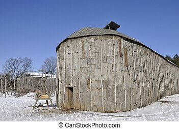 Iroquoian longhouse - reconstructed 15th century Iroquois...
