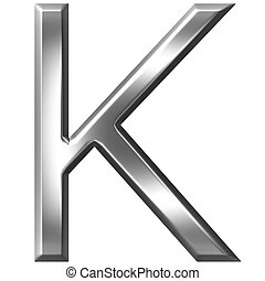 3D Silver Letter K - 3d silver letter K isolated in white