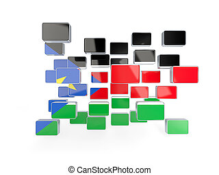 Flag of south sudan, mosaic background. 3D illustration