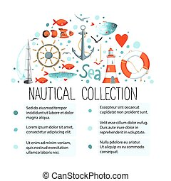 Collection of nautical elements in a semicircle shape....