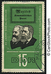 postmark - GERMANY - CIRCA 1966: stamp printed by Germany,...