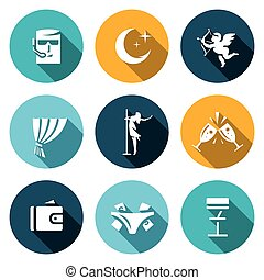 Vector Set of Strip Club Icons - Guard, Crescent, Cupid,...