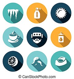 Vector Set of Disease Icons Cooling, Temperature, Heat,...