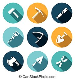 Vector Set of Work Tools Icons Repair, Mine, Craft,...