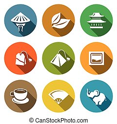 Vector Set of Tea Icons China, Leaf, Temple, Teabag, Cup,...