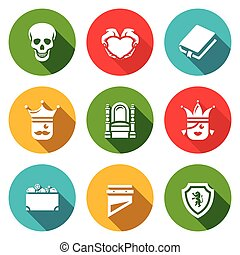 Vector Set of Hamlet tragedy Icons Death, Love, Piece,...