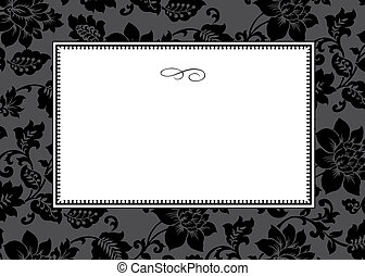 Vector Dark Floral Pattern and Frame