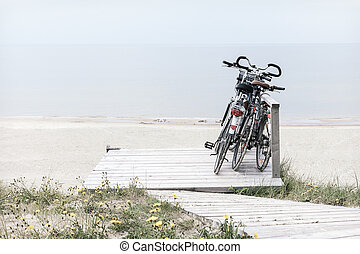 Three bicycles parked on empty beach