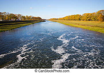 Odra river during the autumn - Poland - Odra river during...