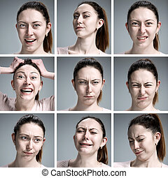 Set of young womans portraits with different emotions on...
