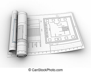 blueprints - 3d illustration of rolled blueprints, over...