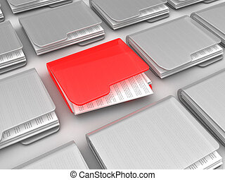 urgent folder - abstract 3d illustration of many folders and...