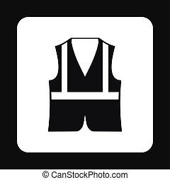Reflective vest icon, simple style - Reflective vest icon in...