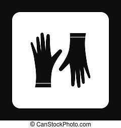 Rubber gloves icon, simple style - Rubber gloves icon in...