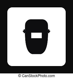 Mask of welder icon, simple style - Mask of welder icon in...