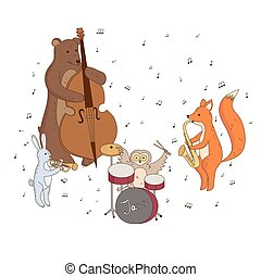 animals playing musical instruments