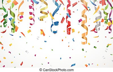 Colorful confetti and streamer on white background - Vector...