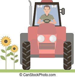 Driver behind the wheel of the tractor. Agricultural work