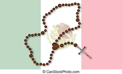 Rosary With Mexican Flag - Flag of the South American...