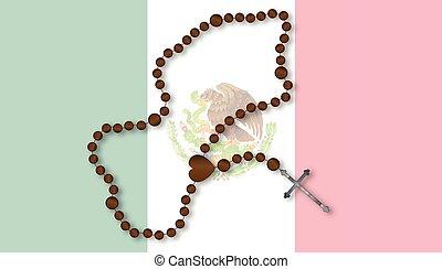 rosário, com, Mexicano, bandeira