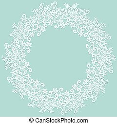 White lace frame - White lace lace frame on a turquoise...