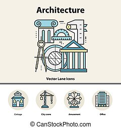 Modern color thin line concept of architecture and...