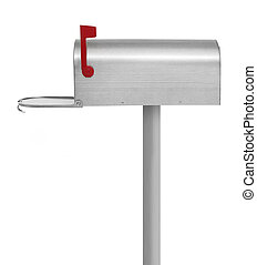 Mailbox - Metallic mailbox on white background