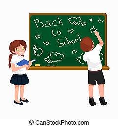 Junge, Schule, begriff, abbildung, Tafel, wenig, zurück, hintergrund, buecher, m�dchen, schreibende,  Banner, oder, Karte