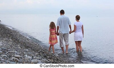 family of three persons walking in sea surf, join hands, from camera