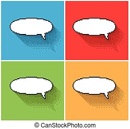 empty pixel text bubbles - Set of empty pixel text bubbles,...