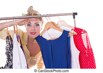 Pin-up woman looking out for shopping sale - Pinup woman...