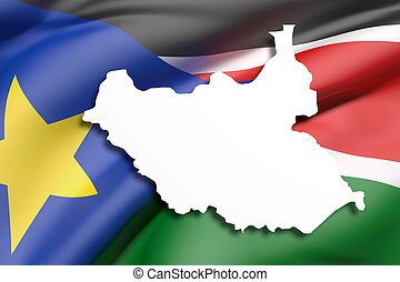 Silhouette of South Sudan map with flag - 3d rendering of...