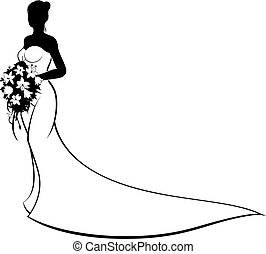 Wedding Bride Silhouette Holding Flowers - Wedding concept...