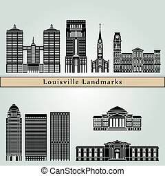 Louisville landmarks and monuments isolated on blue...