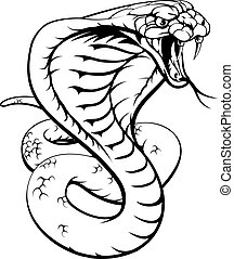 Cobra Snake - An illustration of a king cobra snake in black...