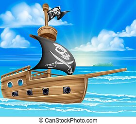 Pirate Ship Sailing - A cartoon pirate ship boat sailing in...