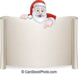 Santa Christmas Scroll Background - A Christmas illustration...